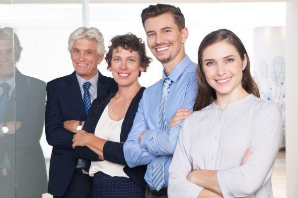 Gruppe von Mitarbeitern mit hoher Motivation